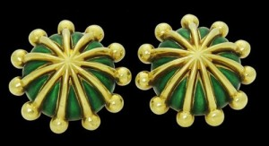 Yellow Gold & Green Enamel Cufflinks