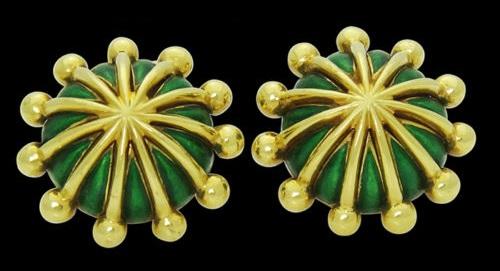 Yellow Gold & Green Enamel Cufflinks
