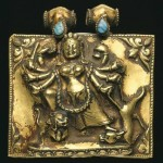 Mahishasuramardini on Amulet box of Gold and turquoise