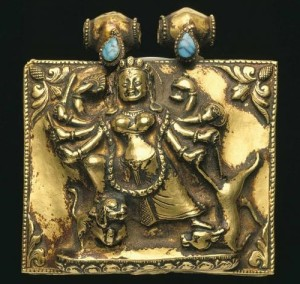 Mahishasuramardini on Amulet box of Gold and turquoise