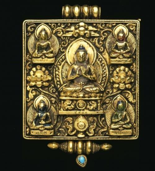 Exquisite amulet box. Gold repousse', turquoise