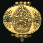 Amulet box. Nepalese-Tibetan Fine Jewelry. Gold repousse', turquoise