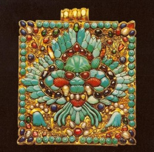 Stunning amulet box of Gold, turquoise, pearl, ruby, coral, lapis lazuli, amethyst, emerald, glass