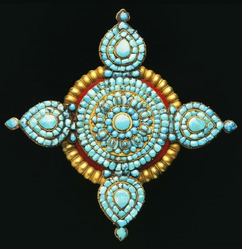 Ornament. Gold, turquoise, felt. Fine jewelry of Nepal and Tibet