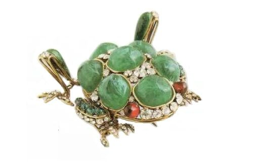 Frog Brooch made from artificial jade, rock crystal, ruby glass, copper. Early 1990's