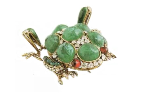 Frog Brooch made from artificial jade, rock crystal, ruby ​​glass, copper. Early 1990's