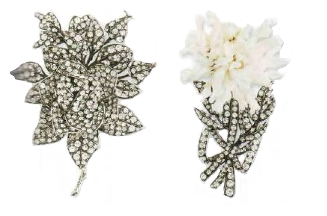Left Brooch - Transparent rhinestone, rhodium-plated metal. The mid-1990s. Right - mother-of-pearl, transparent rock crystal, ruthenium coated metal. The end of the 1990s