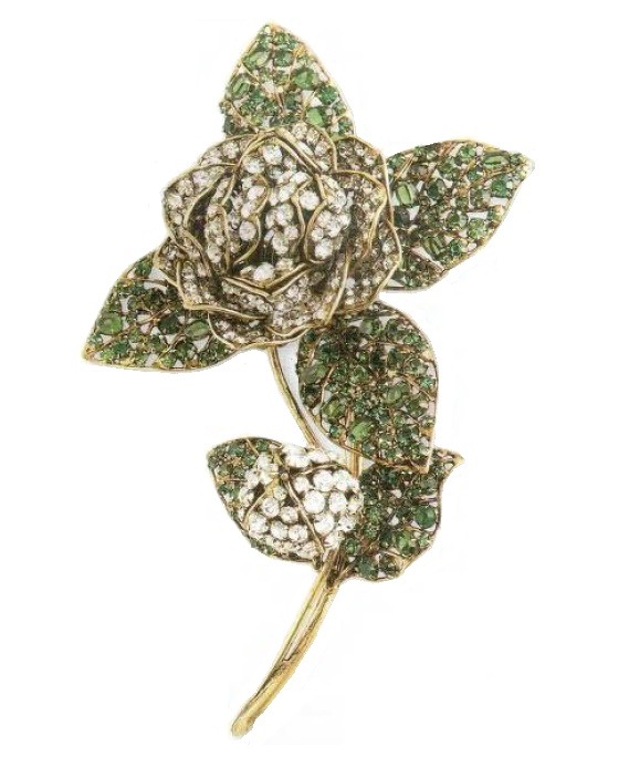 Rose brooch. Transparent and emerald crystal, copper. Mid-1990s