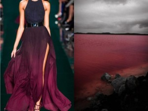 Pink lake and wine red