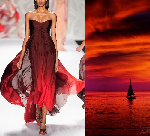 Monique Lhuillier Spring-Summer 2014. Fire in the sky in California by Aydin Palabiyikoglu