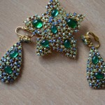 Blue earrings and brooch