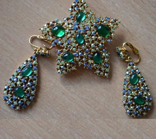 Blue earrings and brooch