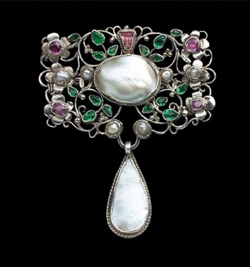 ca. 1907. Silver, Pink Tourmaline, Emerald Paste, Pearl