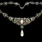 Arts & Crafts Necklace, ca. 1907. Gemstones, Silver, pink tourmaline, chrysoprase, emerald & pearl