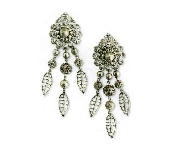 Charming Earrings covered with silver, filigree, length 10 cm. 1970s