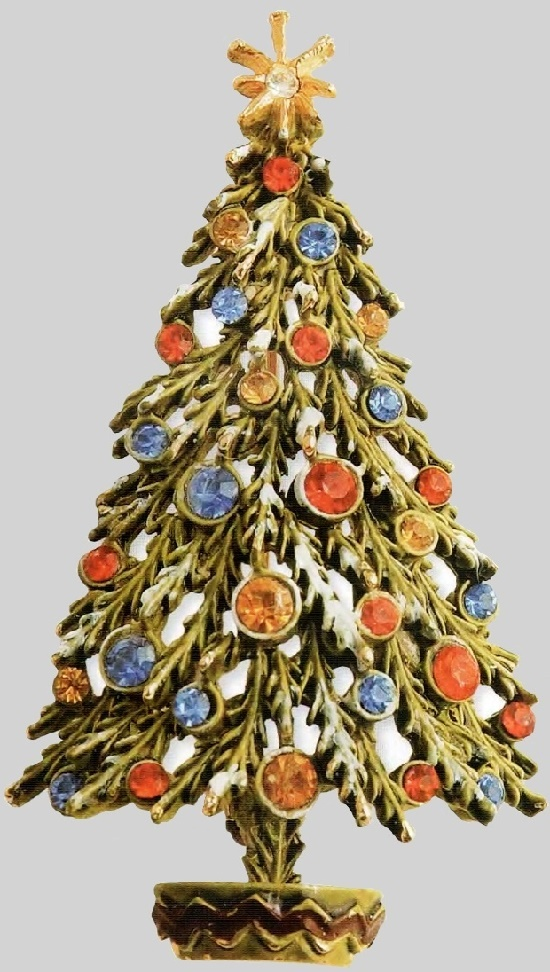 Christmas tree Brooch, Art. Green enamel, colored rhinestone. 1950's. 6 cm £ 40-45 CRIS