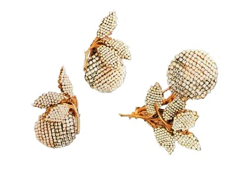 Classic Haskell jewelry - brooch and earrings, 1940s