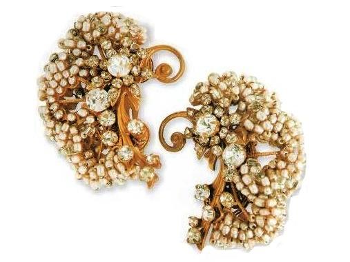 Made in 1950s earrings - artificial pearls, rhinestones. £ 300