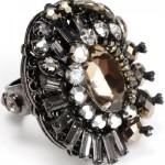 Stylish black ring with rhinestones