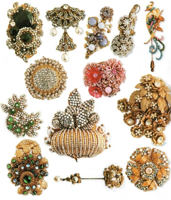 Most Haskell brooches are complex compositions of metal and crystals. Favorite motive - floral