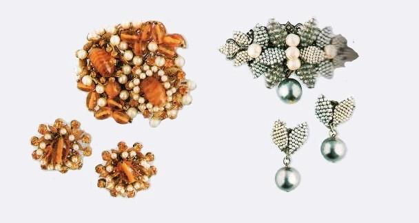 Pearl earrings and brooch, 1960s