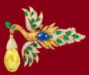 Phoenix brooch. Briolette diamond, set with diamonds and sapphires, with a 96.62-carat diamond in its beak