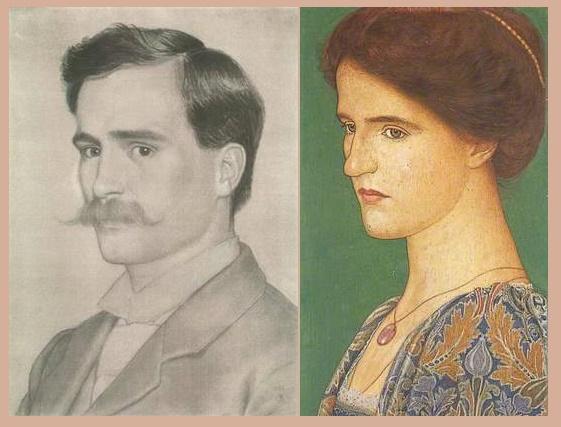 Right - Georgina Gaskin (1866-1934), left - her husband Arthur Gaskin (16 March 1862 – 4 June 1928)