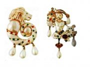 White enamel, fake pearl brooches. 1950s 250-315 GB pounds