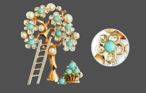 Apple tree and a ladder brooch