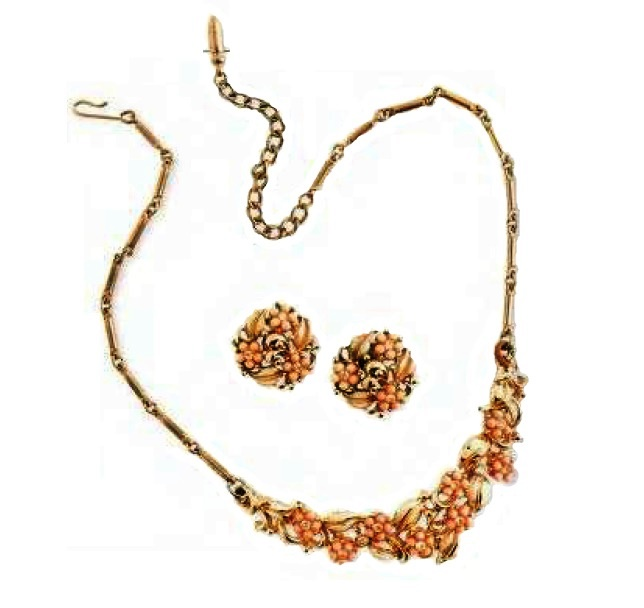 Artificial coral necklace and earrings with crystals. £50-60