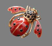 Bee ladybug vintage brooch. Covered with enamel, decorated with rhinestones