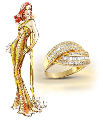 Golden Glamour Diamonesk Ring
