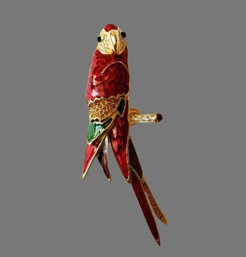 Parrot brooch. Gold tone metal alloy, enamel, Swarovski crystals. 11 cm. 1980s