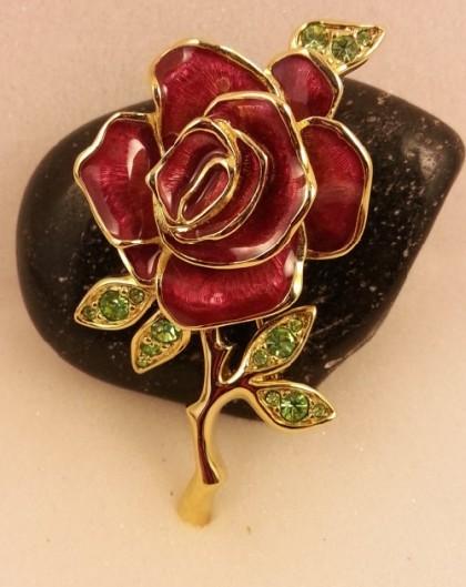 Red enamel flower brooch
