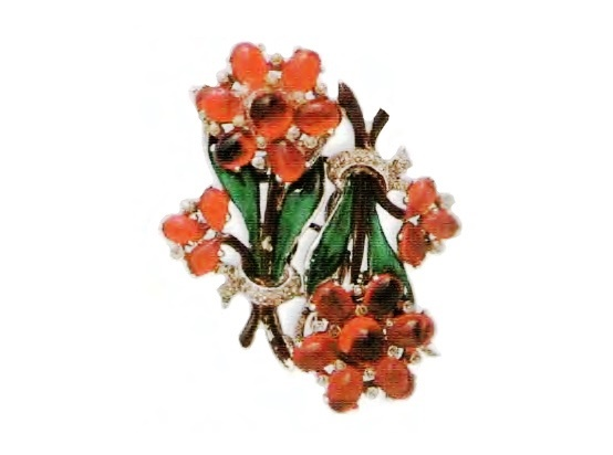 Bouquets of flowers. Silver with enamel glass. rhinestone. 1930s £ 165-200 ROX
