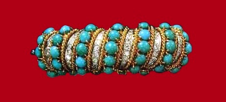 Bracelet made of gold with turquoise and diamonds. 1960s