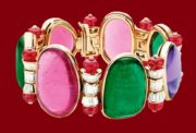 Bracelet set with diamonds, cabochon emeralds, rubies, amethysts, and pink tourmalines
