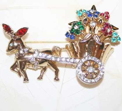 Donkey with a cart full of flowers brooch