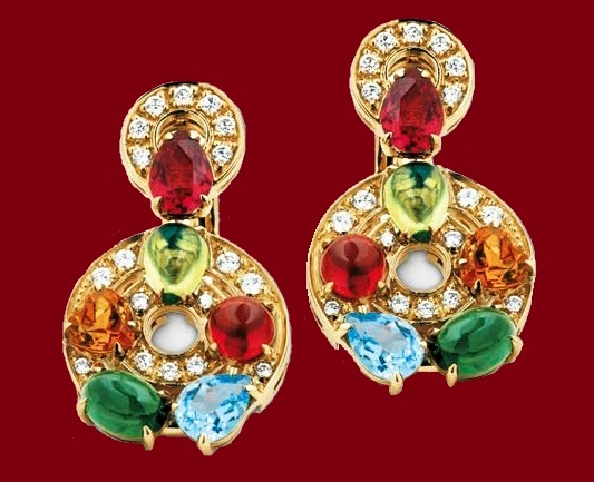 Bulgari Cerchi earrings, 18-karat gold set with green tourmaline, peridot, blue topaz, rhodolite, garnet, citrine, and diamonds