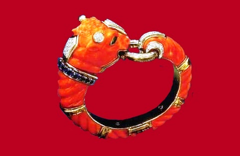 Bull's head wrist bracelet from carved corals with colored stones and diamonds