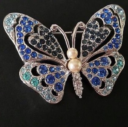 Blue and silver tone butterfly brooch of 1970s
