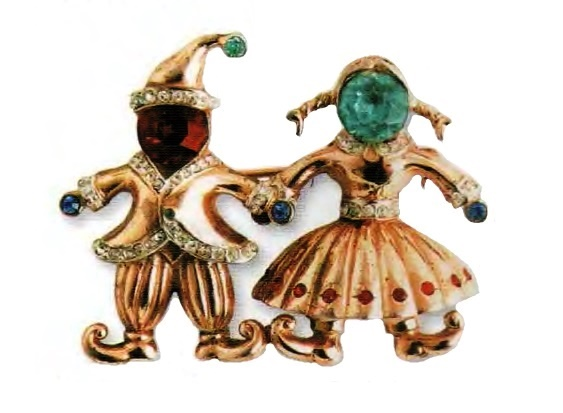 Danish couple brooch. Gilded silver, colored rhinestone. 1940s 5 cm £ 360-400 CRIS