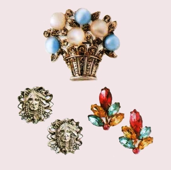 Earrings and brooch by Coro, £20 - 35