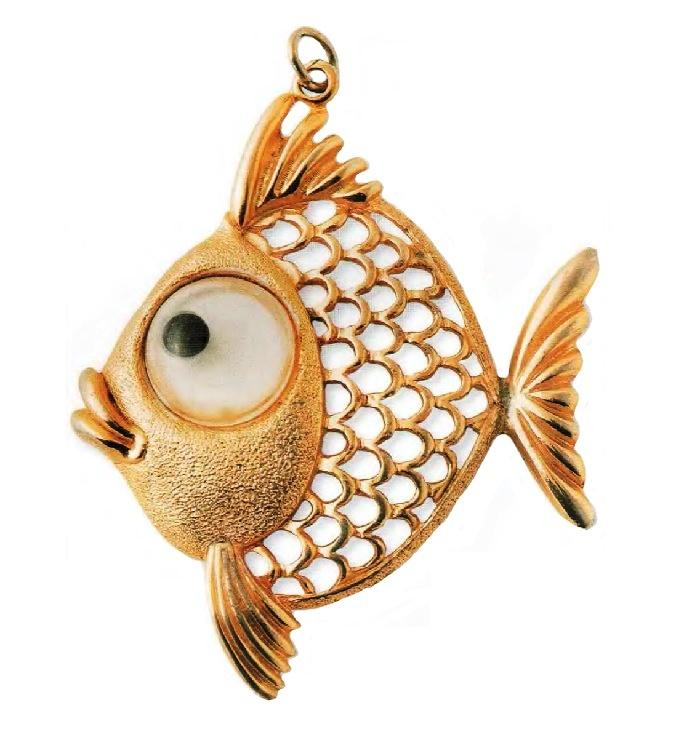 Fish pendant. Gold tone metal, translucent plastic. 1970s 7.5 cm £ 25-35 JJ