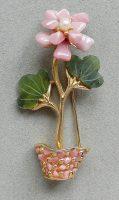 Flower in a pot brooch
