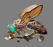 Fly brooch. Enamel, jewelry alloy of gold tone, rhinestones. 5 cm