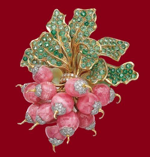 Gem set and diamond brooch, 'Botte de Radis',