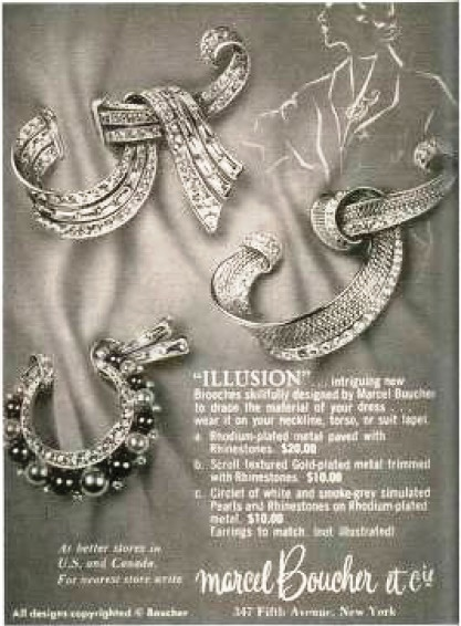 'Illusion' brooches, advertising in the magazine Vogue. Inlay, gold, rhodium plated metals, rhinestone, artificial pearls. 1955