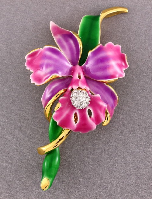 Orchid enameled brooch
