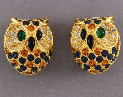 Owls clips. Jewelry alloy of gold tone, rhinestones